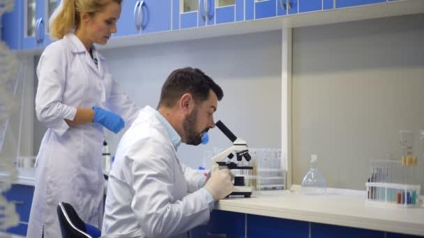 Izgatott kollégák látszó átmenő Mikroszkóp és mosolyogva