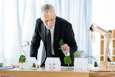 Calm real estate agent adding trees to his adorable miniature houses
