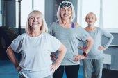 Fotografie Motivované starší dámy pózuje s úsměvem pro fotoaparát