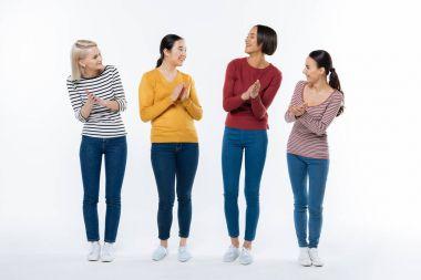 Positive happy women applauding
