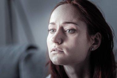 Depressed upset woman leaving alone