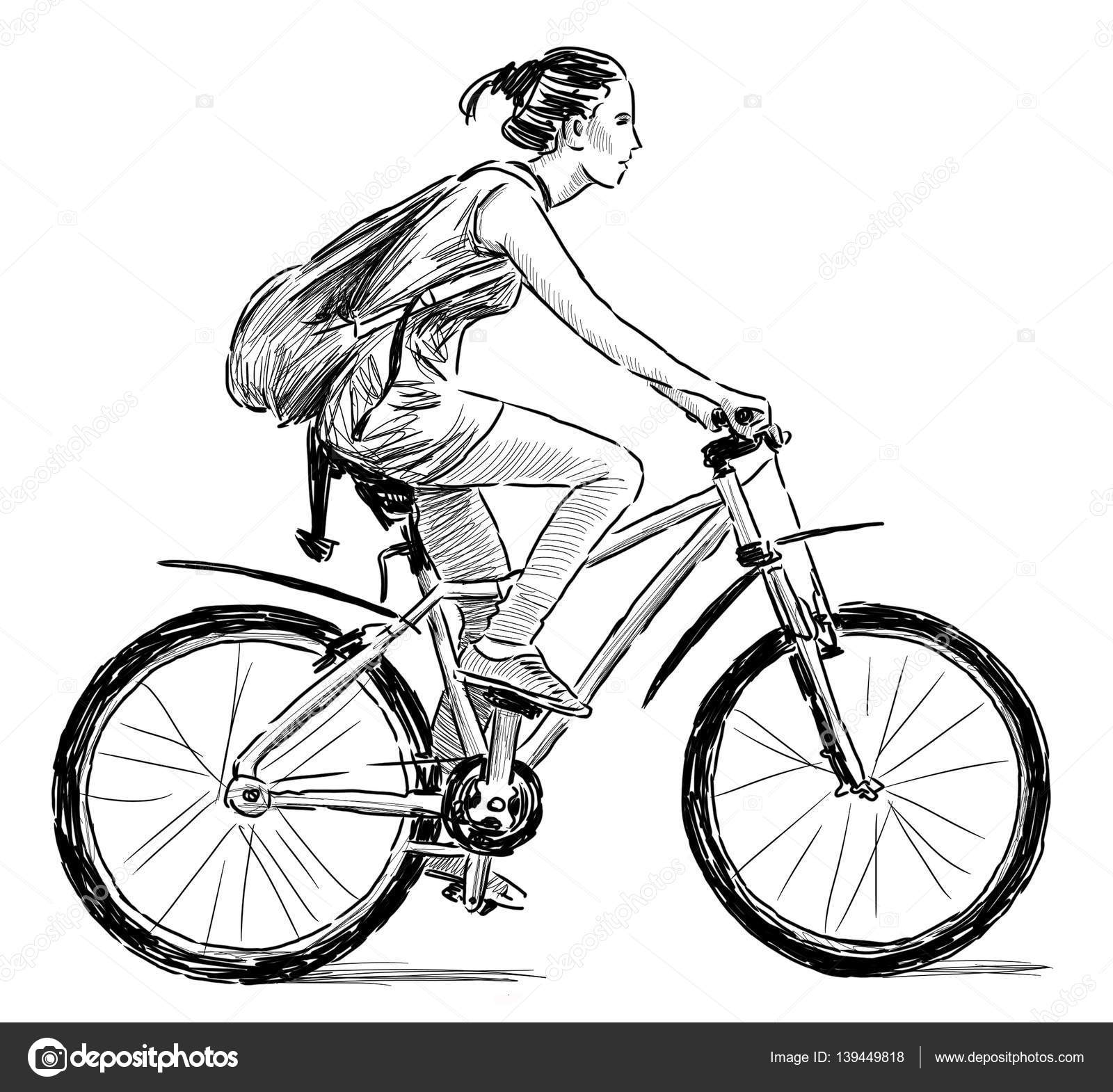 Sketch Of A Girl On A Bicycle Stock Photo Chronicler101 139449818