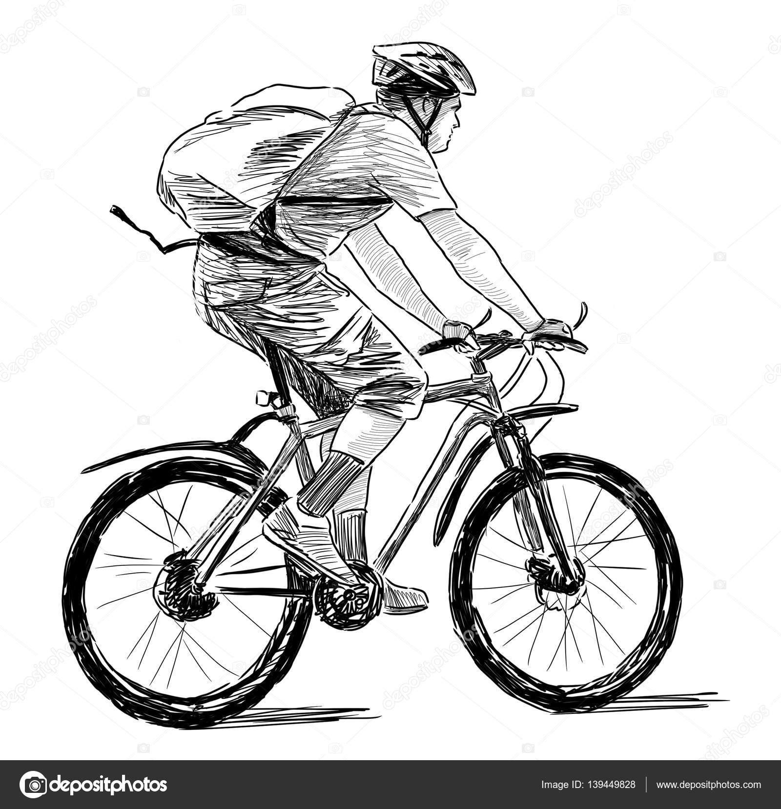 Amato Disegno a mano di una persona su una bici — Foto Stock  HT08