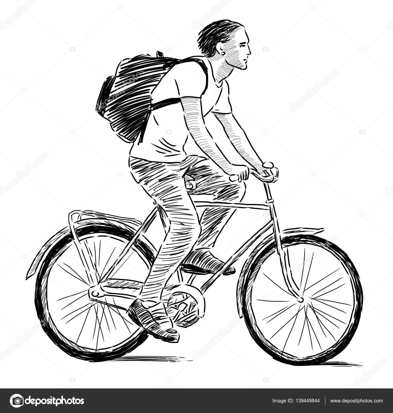 mão desenho de um jovem andando de bicicleta stock photo
