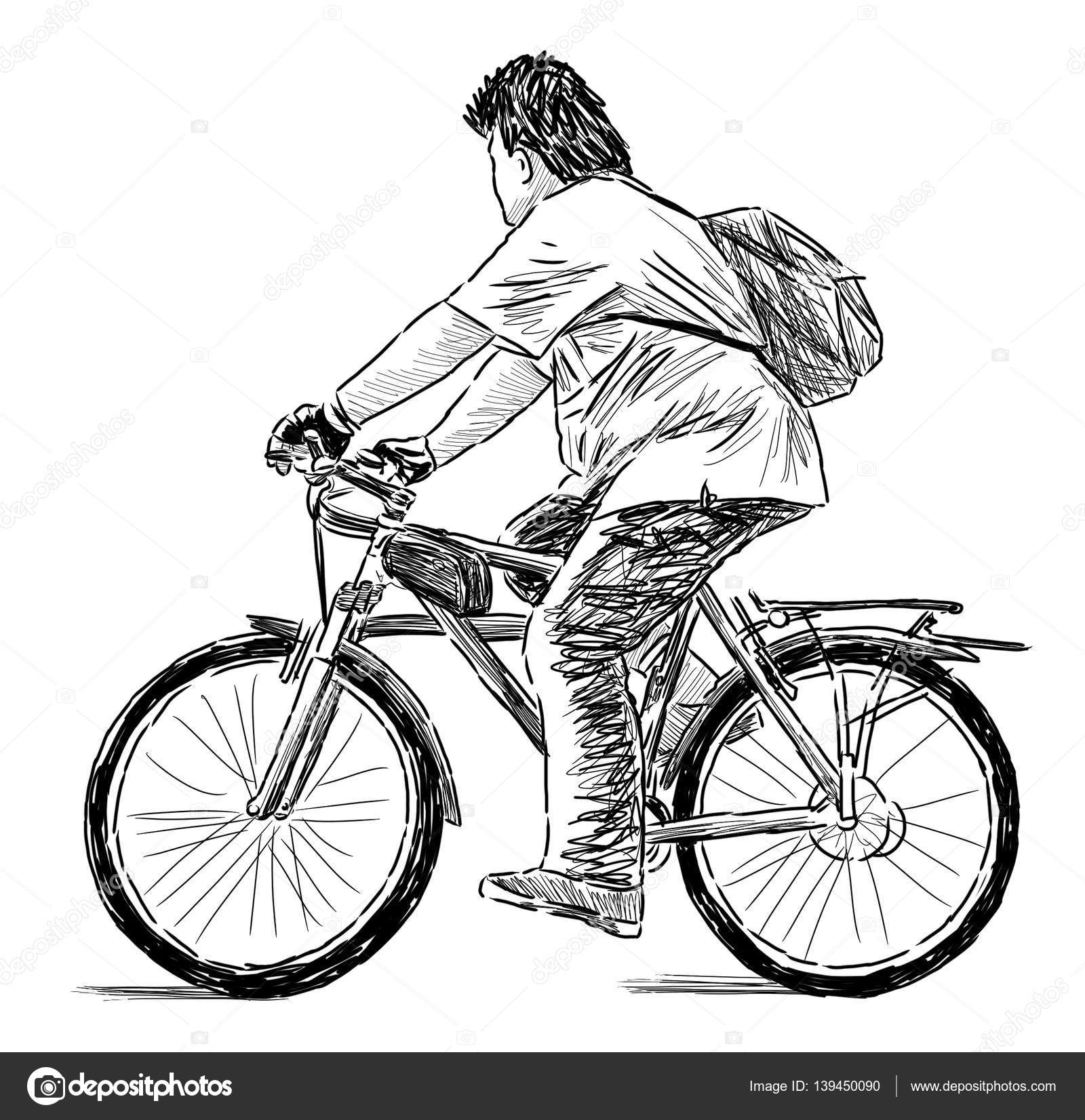Pencil drawing of a boy riding a bicycle photo by chronicler101