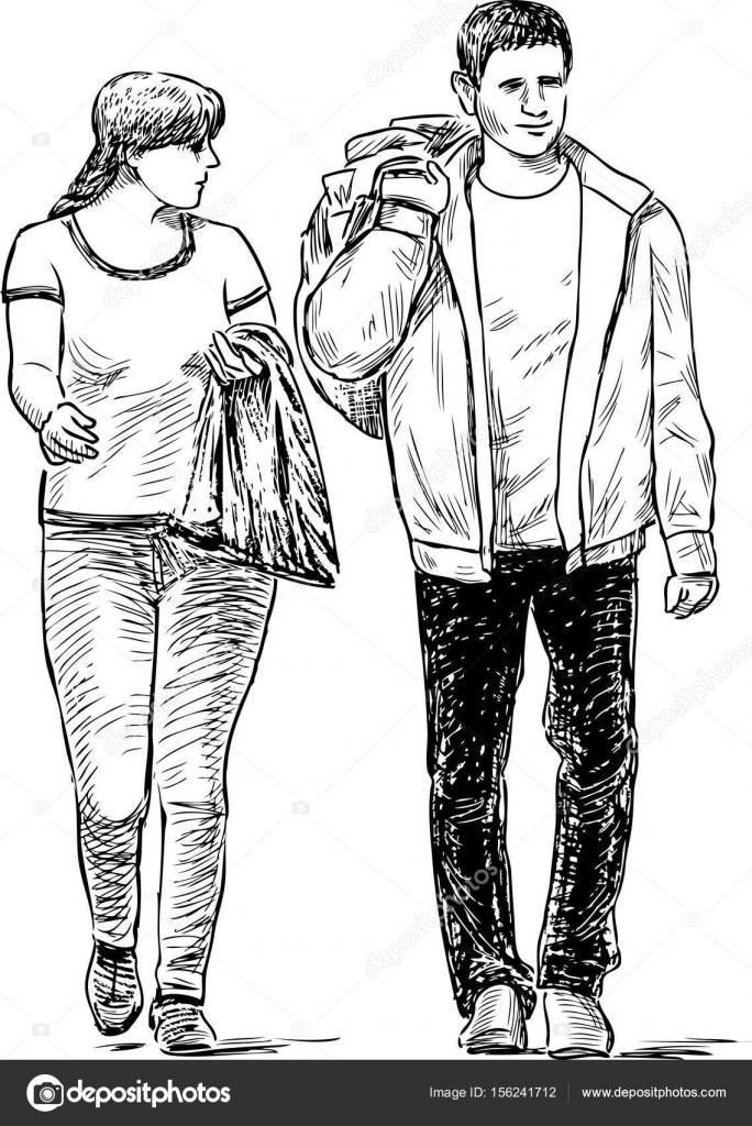 Skizze des Ehepaars lässig Fußgänger — Stockvektor © chronicler101 ...
