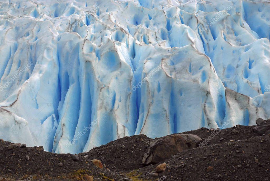 Glacial mountain scenery around the Perito Moreno Glacier in Patagonia Argentina