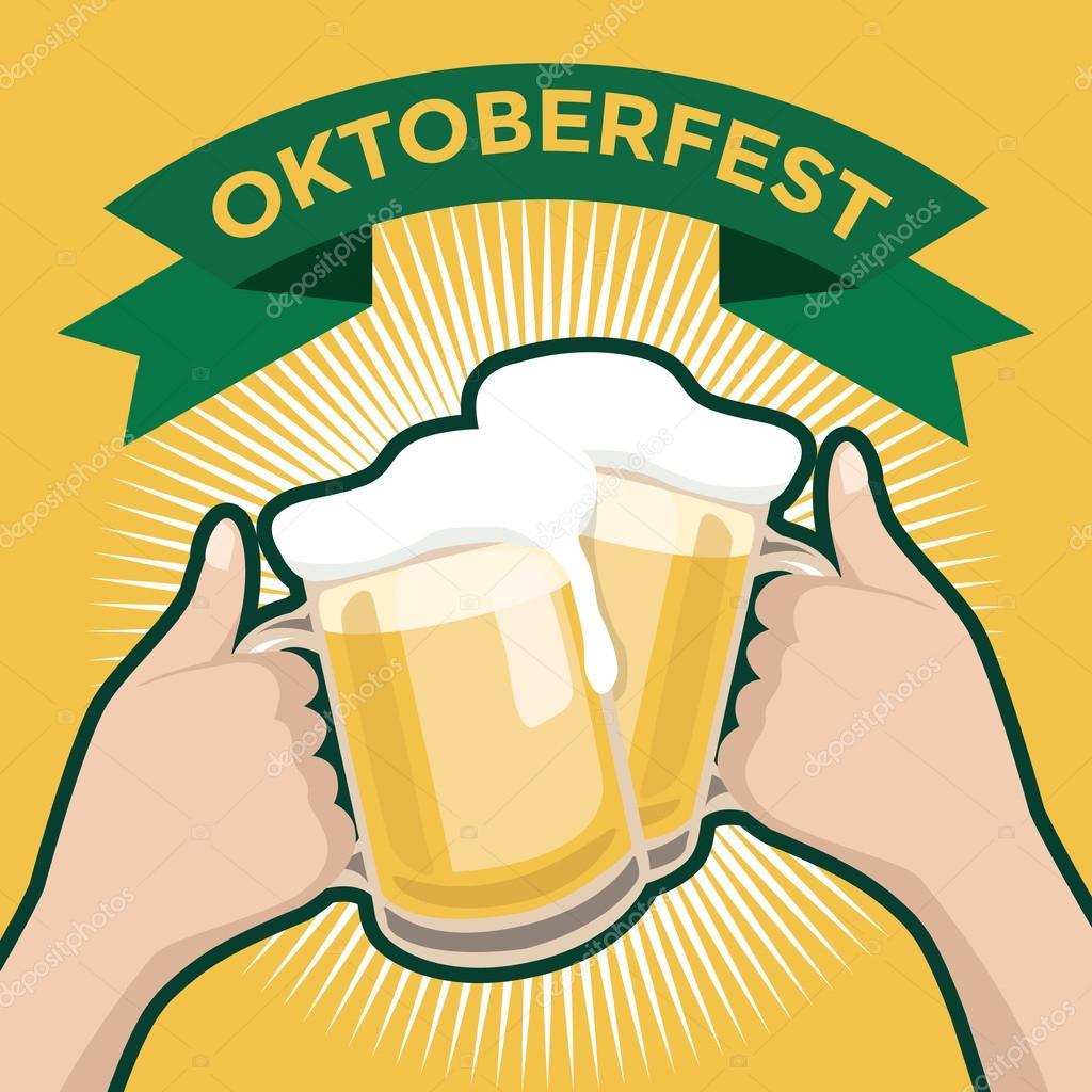 festival de cerveja oktober com as duas mãos brindando a copos de