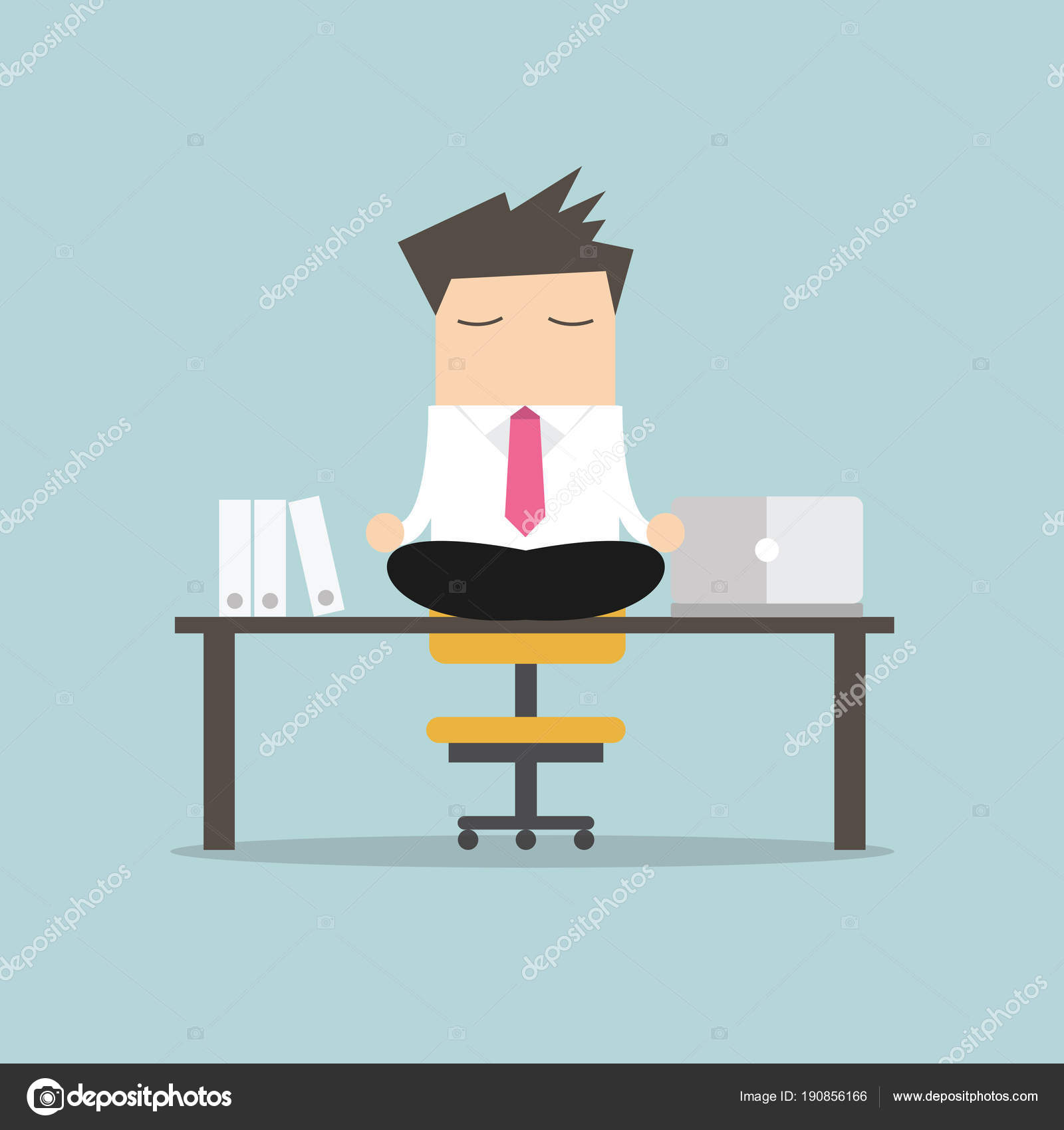 meditation office. businessman meditation in office. yoga at job. young man relaxing lotus position on table with computer work. \u2014 vector by inueng office