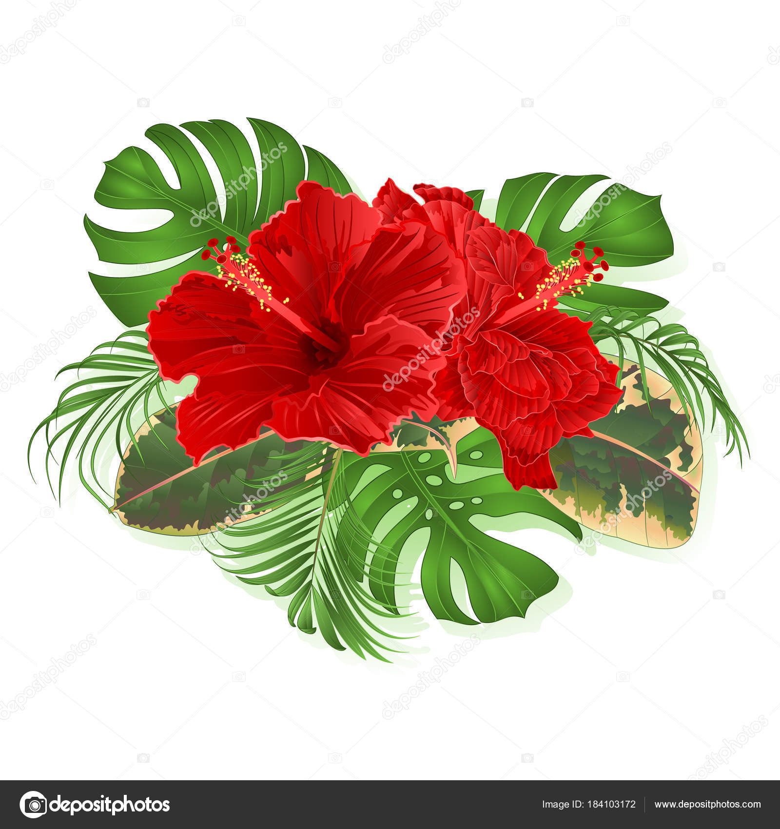 Bouquet tropical flowers hawaiian style floral arrangement beautiful bouquet tropical flowers hawaiian style floral arrangement beautiful hibiscus palm stock vector izmirmasajfo