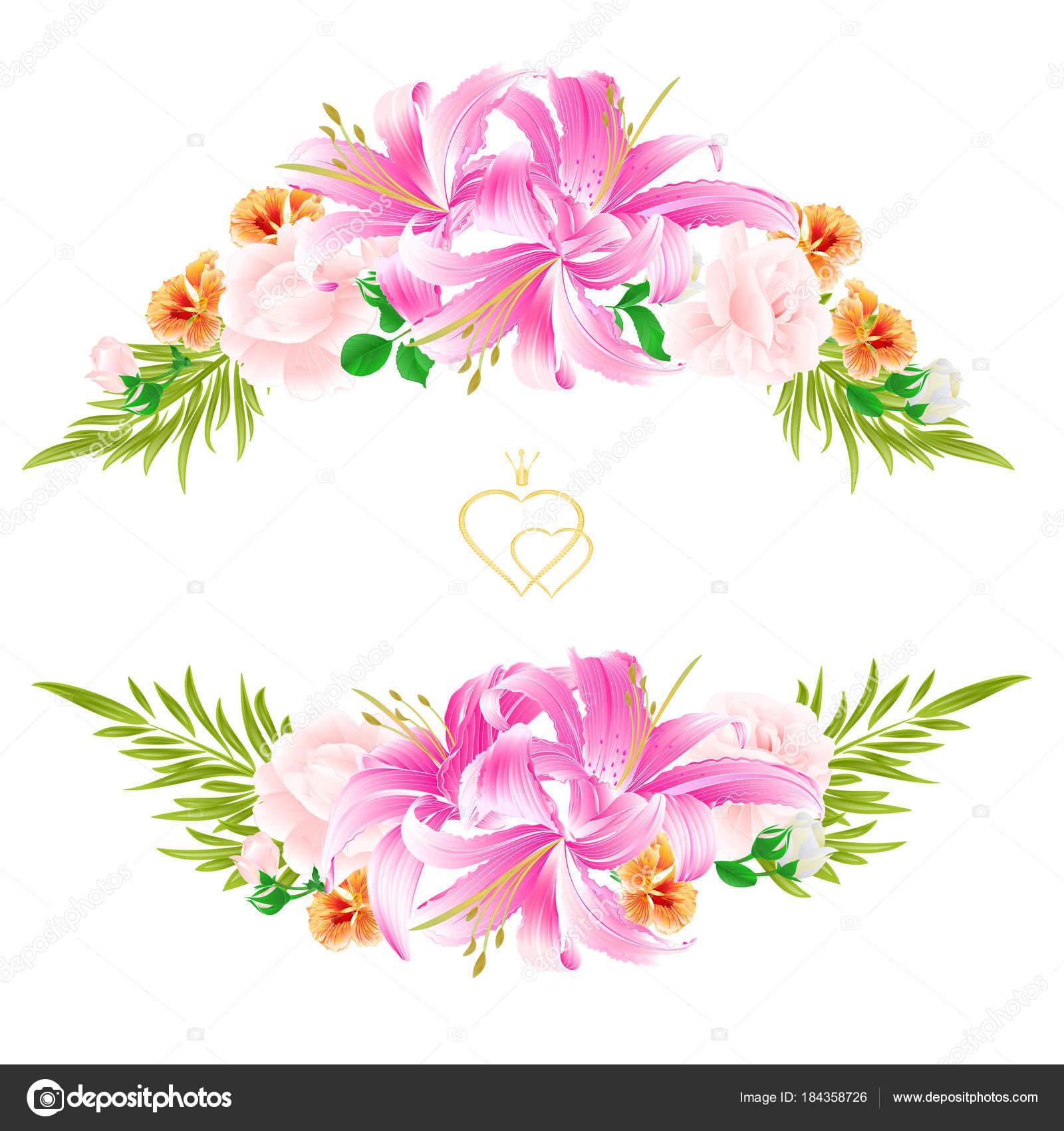 Bouquet Flowers Arrangement Beautiful Lilies Light Pink Roses