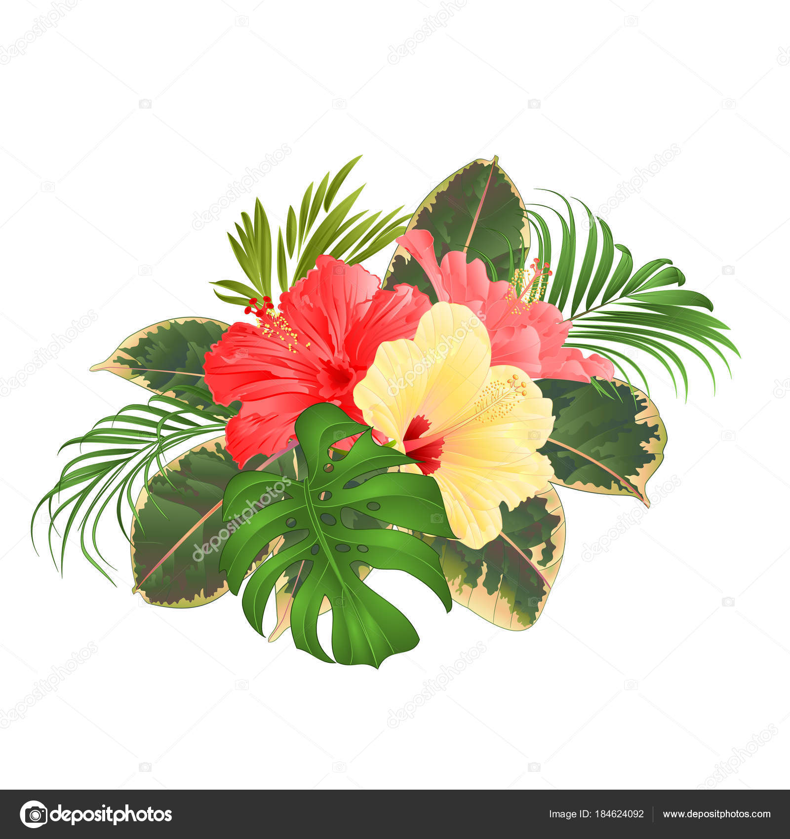 Bouquet tropical flowers hawaiian style floral arrangement beautiful bouquet tropical flowers hawaiian style floral arrangement beautiful pink yellow stock vector izmirmasajfo