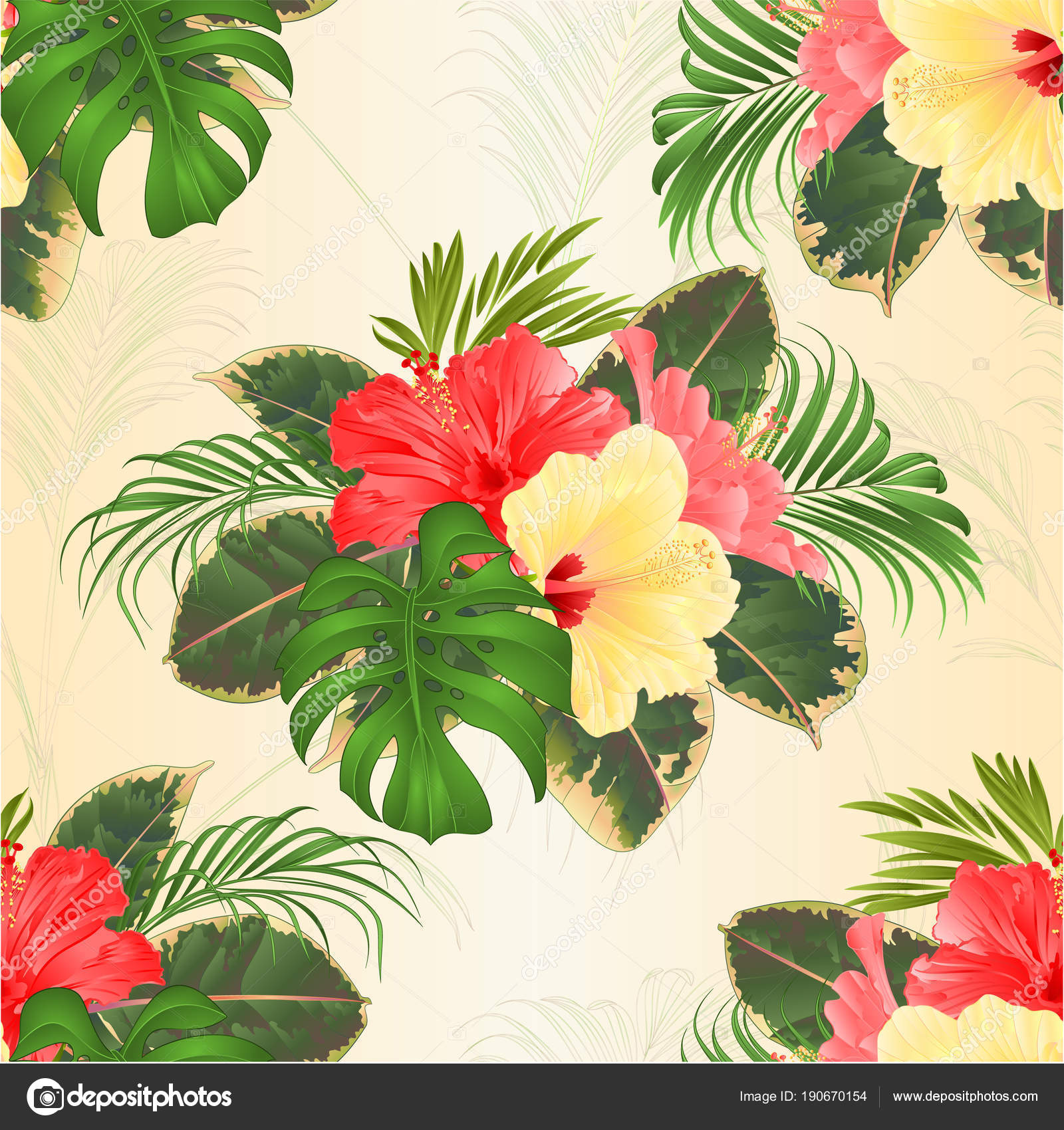 Seamless texture bouquet tropical flowers hawaiian style floral seamless texture bouquet tropical flowers hawaiian style floral arrangement beautiful stock vector izmirmasajfo