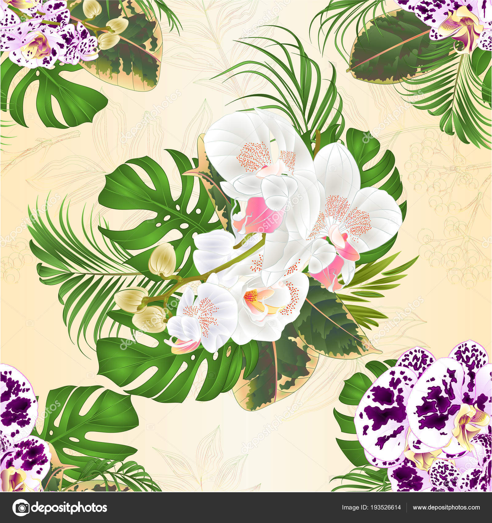 Seamless Texture Bouquet Tropical Flowers Spotted White Orchids