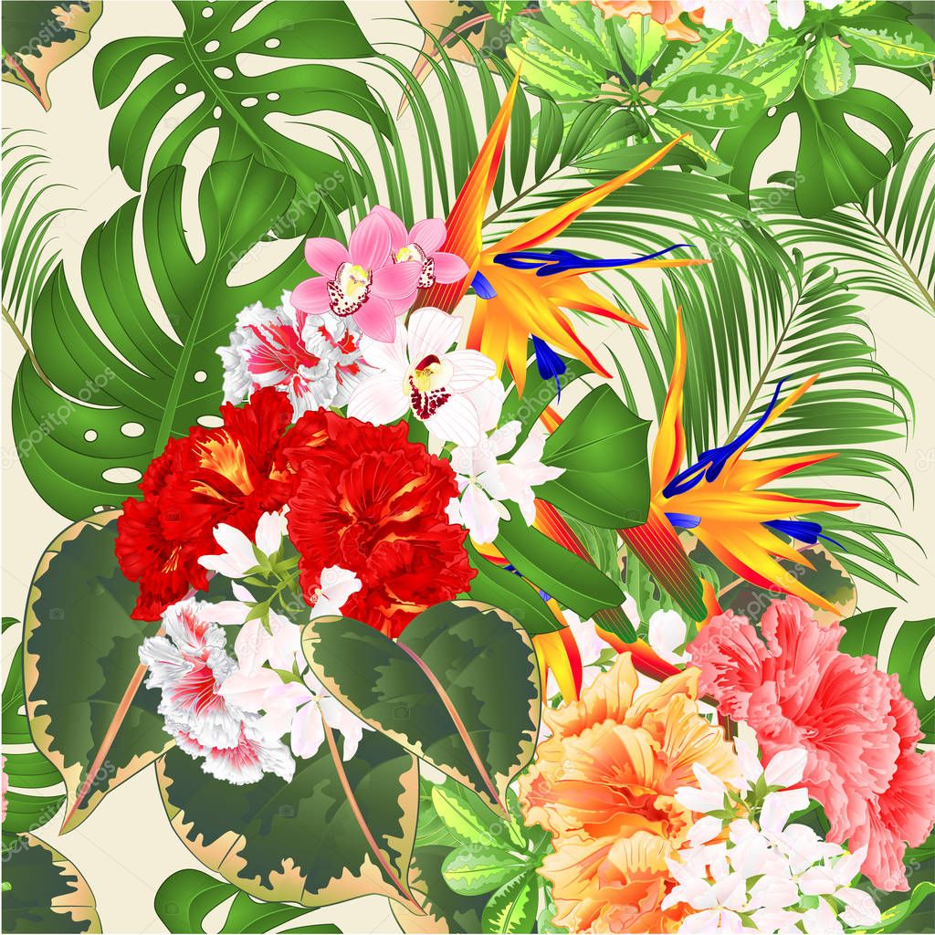 Seamless Texture Tropical Flowers Floral Arrangement With Strelitzia And Pink Red Yellow Hibiscus And Orchids Cymbidium Philodendron And Schefflera And Monstera Vintage Vector Illustration Editable Hand Draw Premium Vector In Adobe