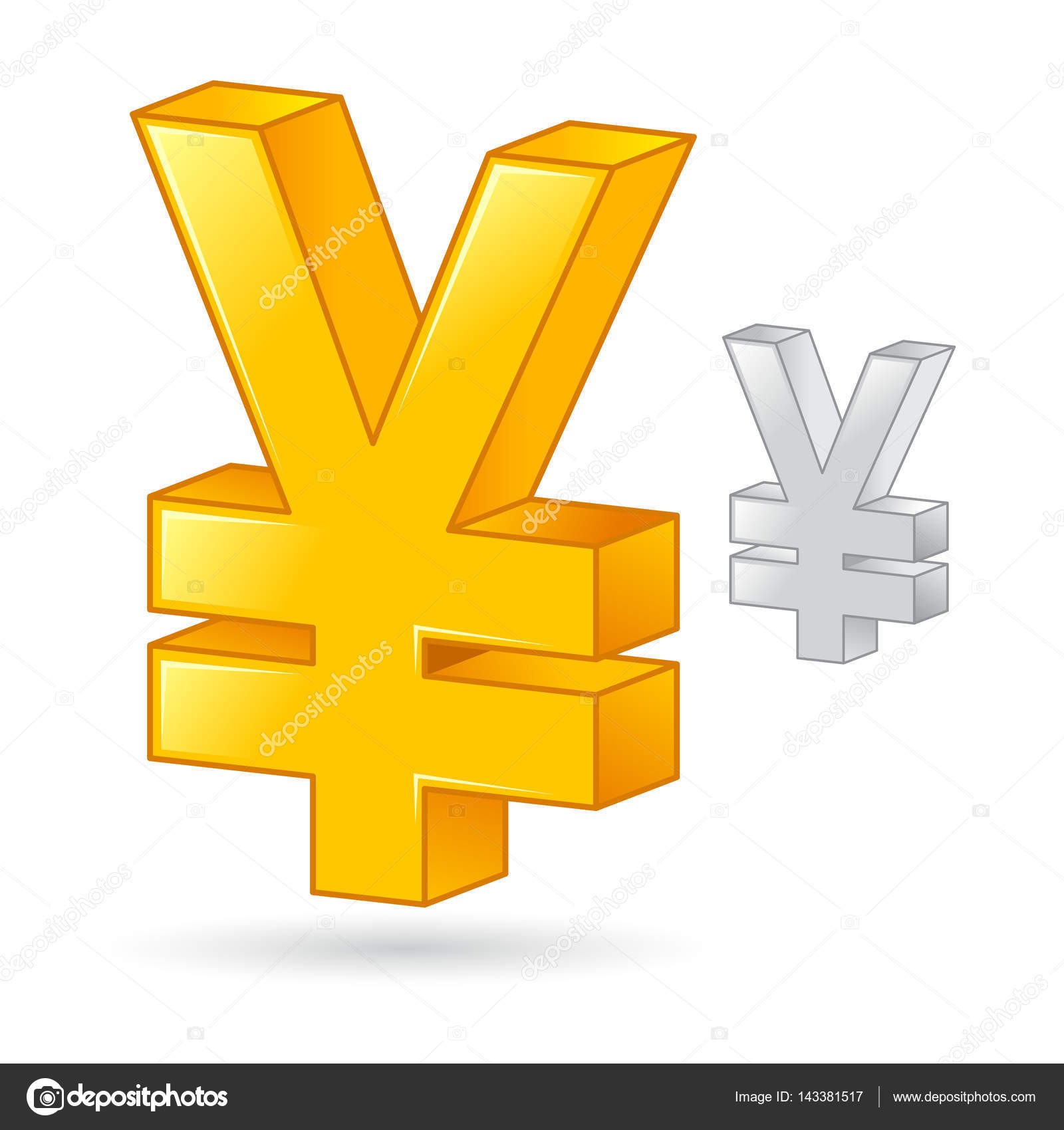 Golden And Silver Japanese Yen Currency Money Symbol Stock Vector