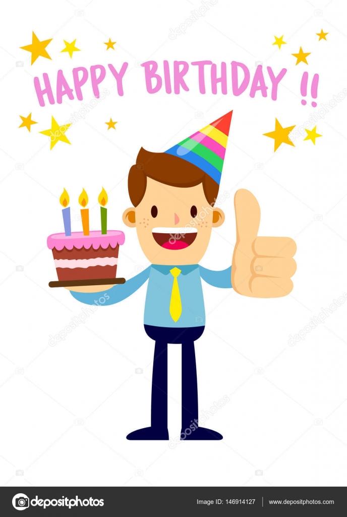Geschaftsmann Halt Sagen Happy Birthday Cake Stockillustration