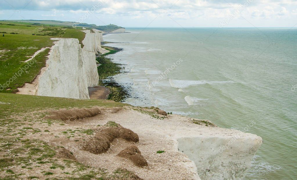 World renowned English white cliffs of seven sisters.