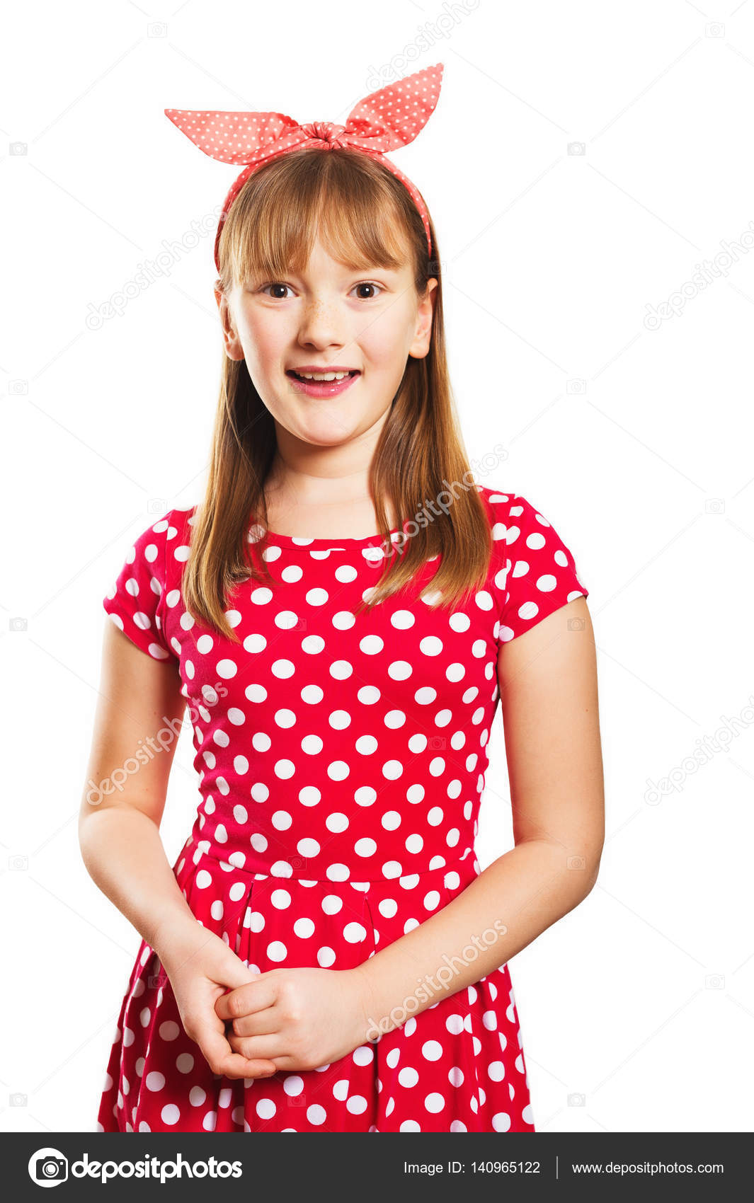 532935037 Studio shot of young little 9-10 year old girl