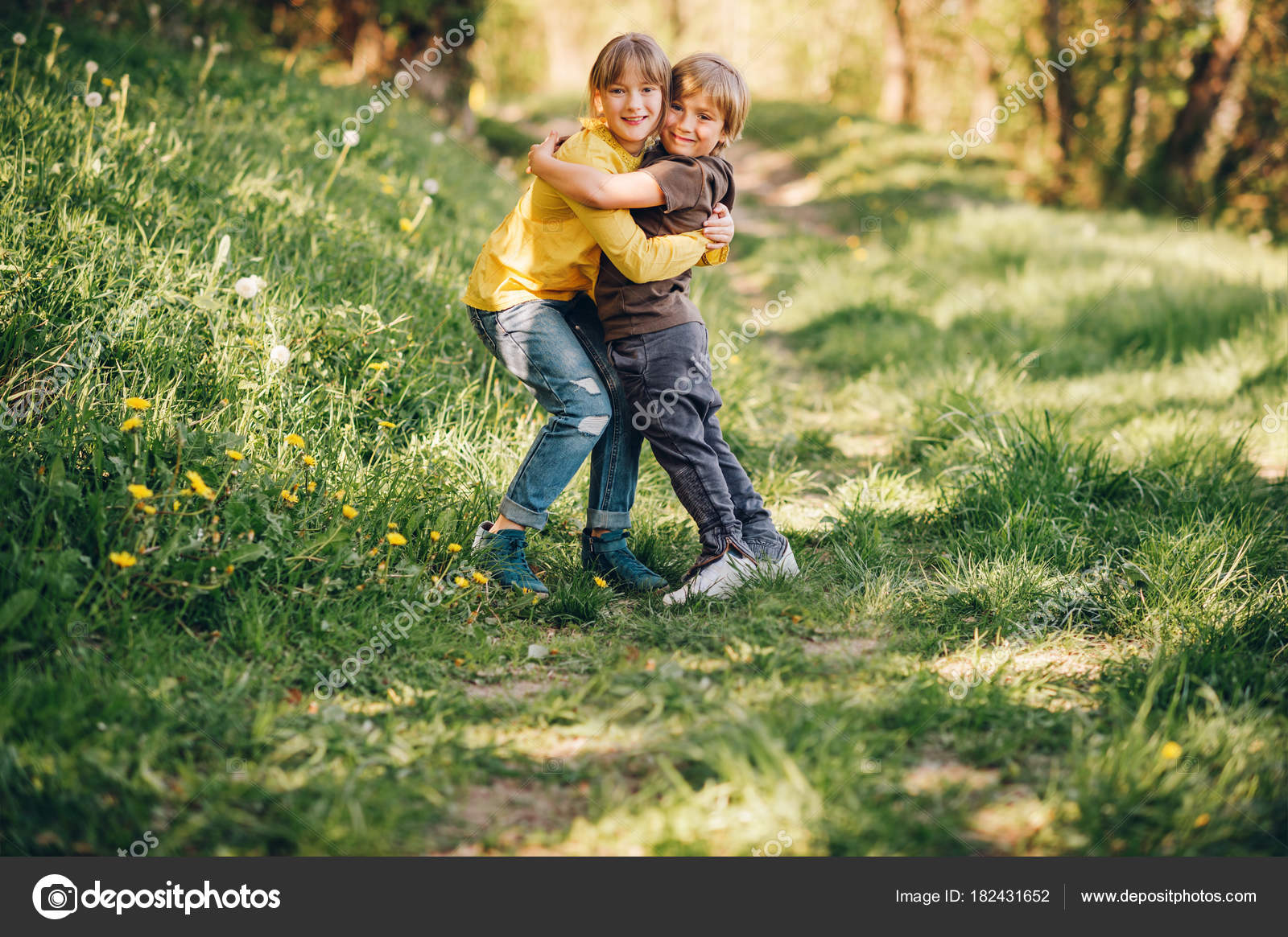 Two Funny Kids Playing Together Spring Forest Little Brother Sister