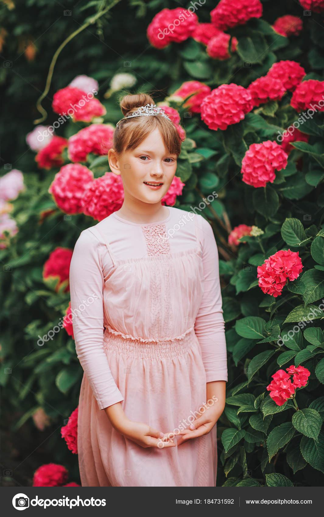 13467a410 Little Ballerina Girl Dancing Hydrangea Garden Wearing Tutu Dress ...