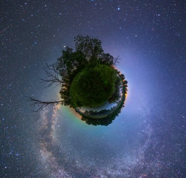 projection of planet with trees at night