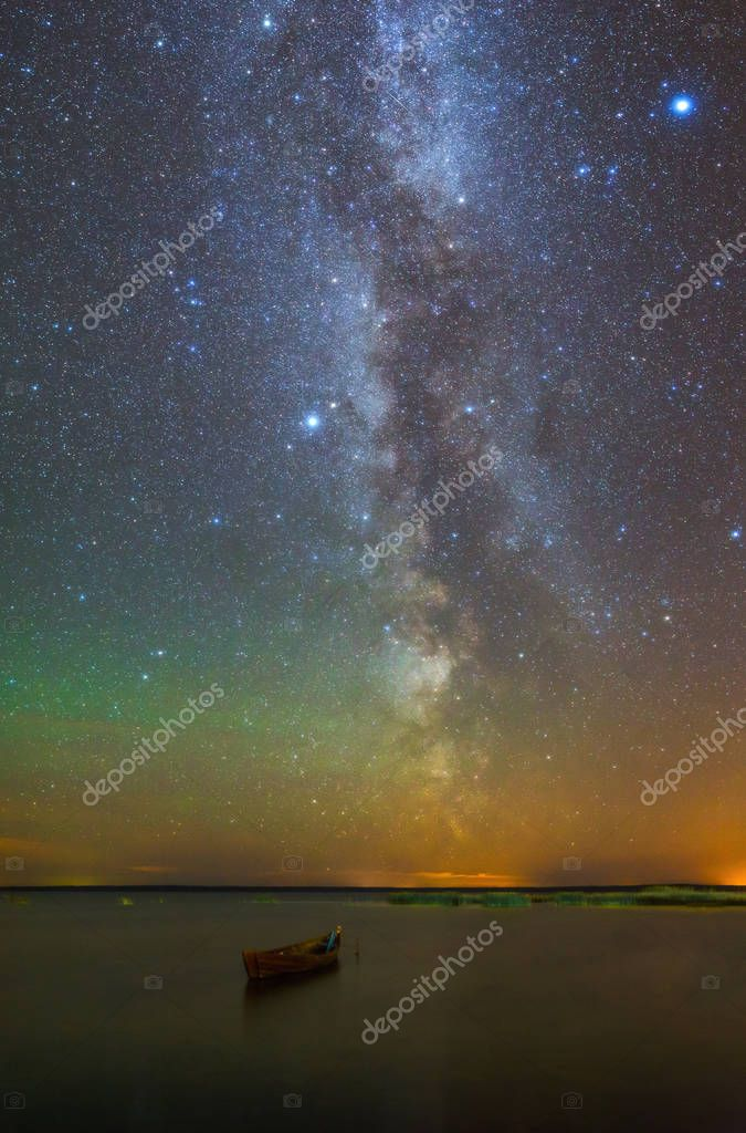 Milky Way over Lonely boat