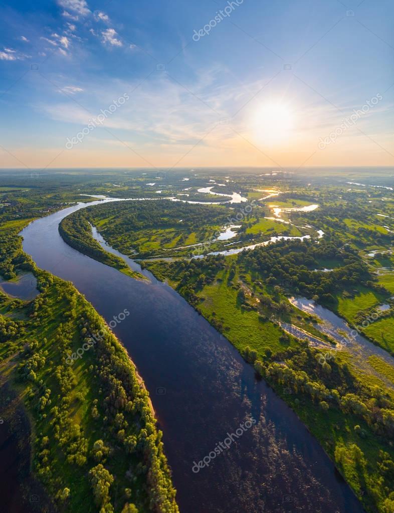 Belarusian river at sunset