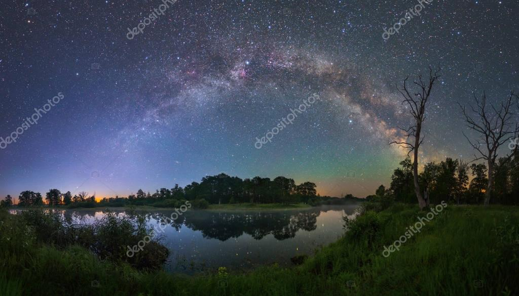 Starry night landscape