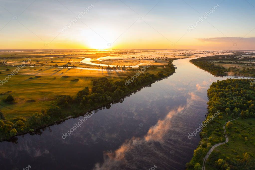 Belarusian river at sunrise