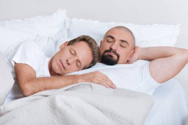 Peaceful non-traditional couple sleeping together