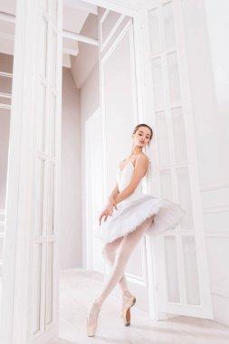 Elegant ballerina holding her legs crossed