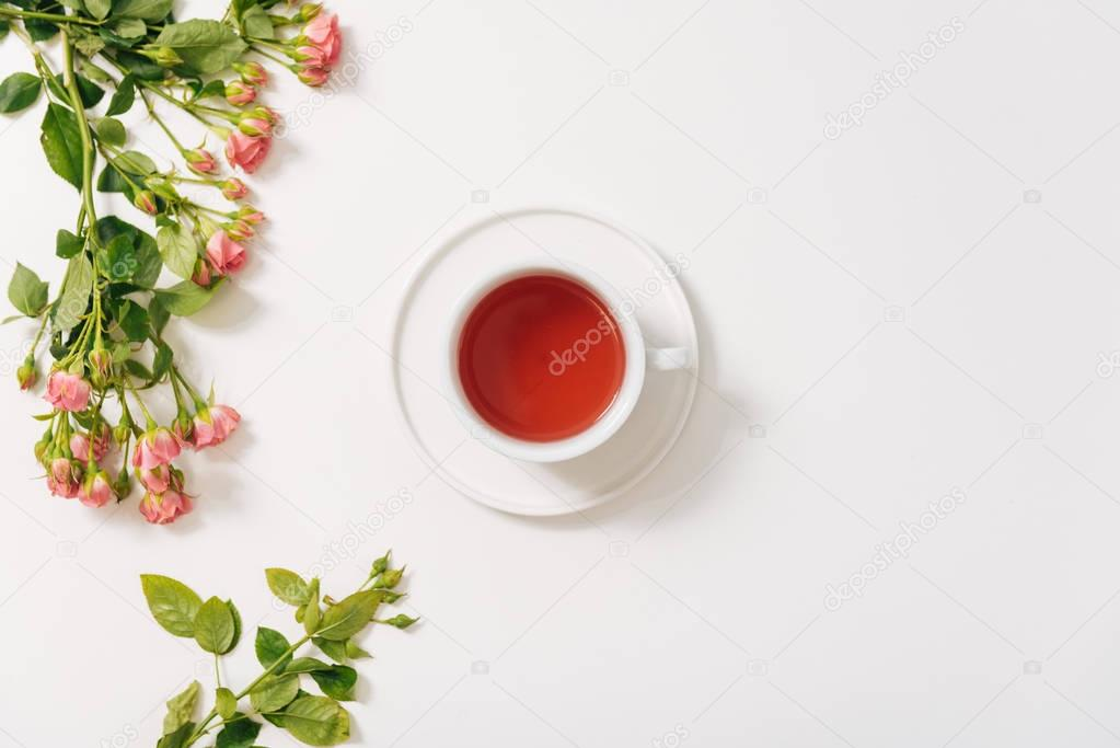 Branch of roses lying near the tea cup