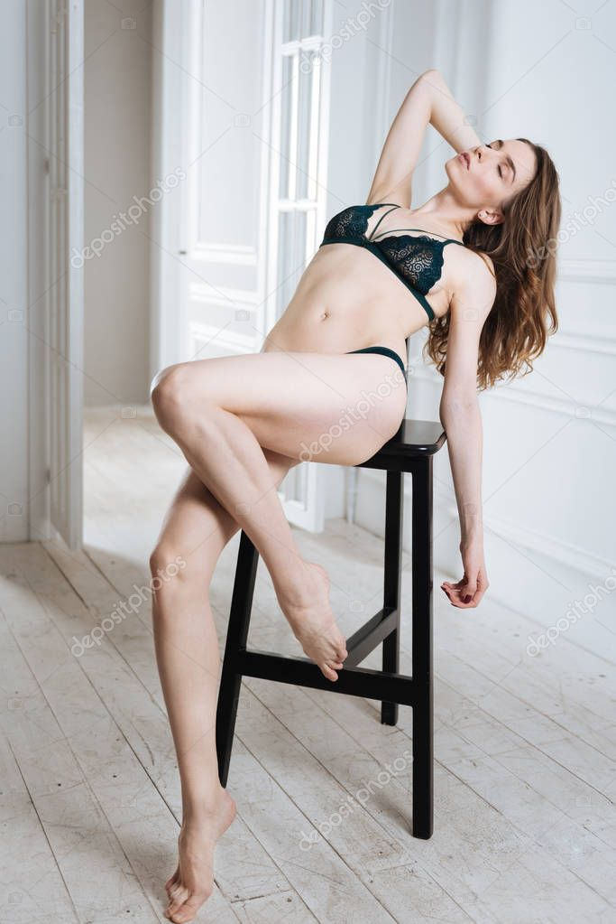 Cute Young Brunette Girl Posing With The Chair Porhub 1
