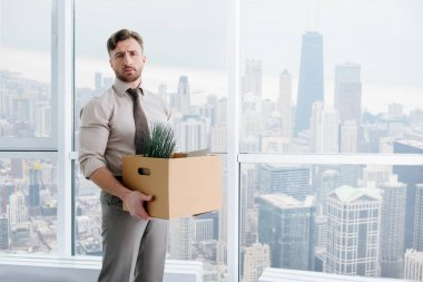 Cheerless fired man standing in the office