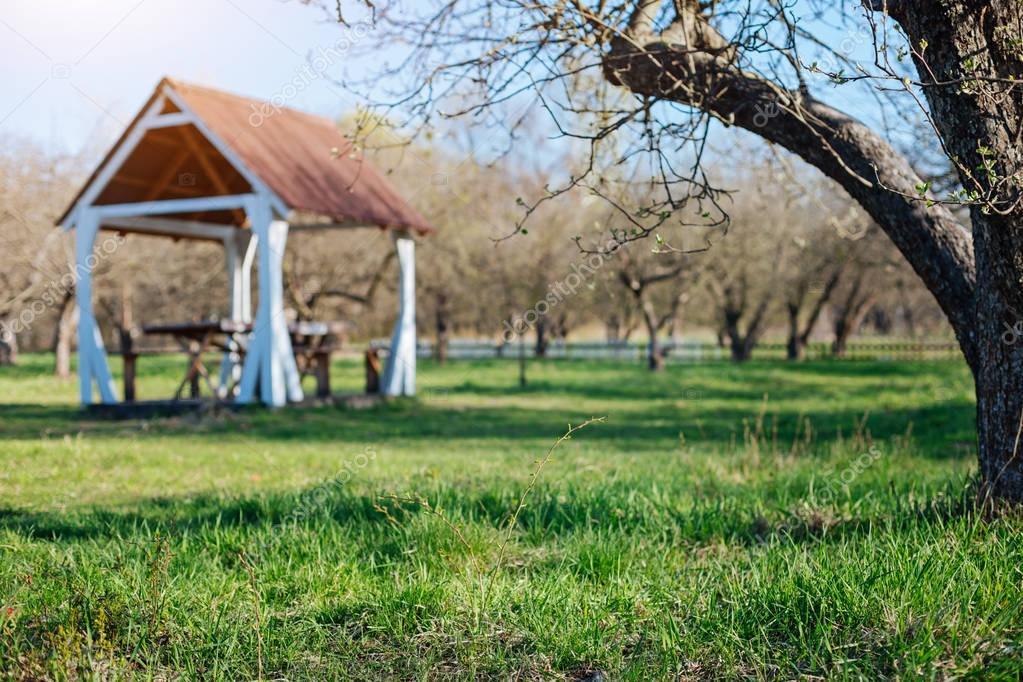 Countryside backyard with family gazebo in sunny day