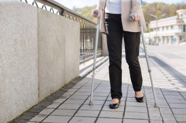 Retired woman enjoying promenade