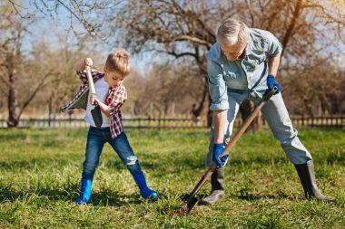 family members working in garden