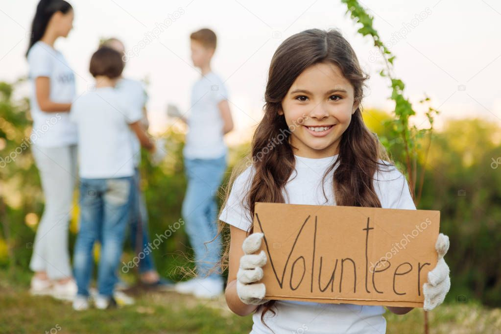 girl inviting you to volunteer team
