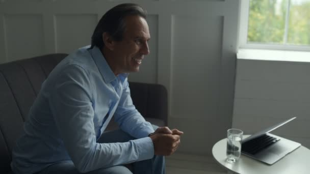 Positive man visiting professional psychiatrist