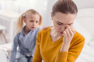 Sad single mom feeling helpless
