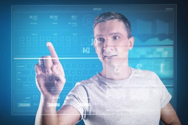 Looking impressed. Clever experienced programmer looking at the transparent screen while developing his amazing program stock vector