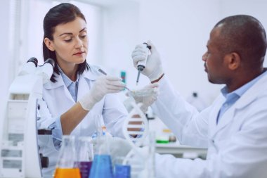 Helping the world. Experienced serious scientists focusing on their research while trying to save the world from coronavirus stock vector