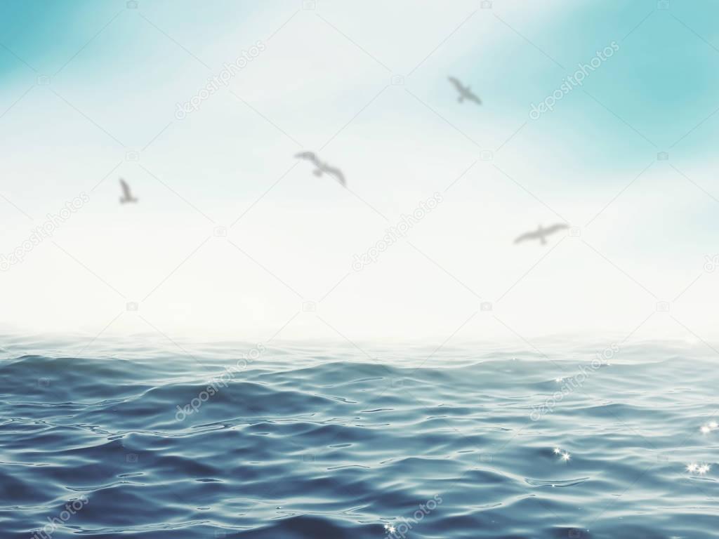 Birds flying over blue sea