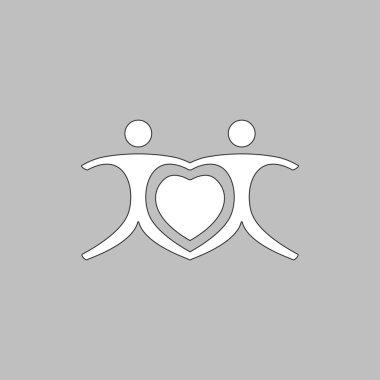 Love Heart Icon Vector. Flat simple color pictogram clip art vector