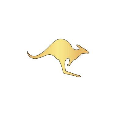 Kangaroo Gold vector icon with black contour line. Flat computer symbol stock vector