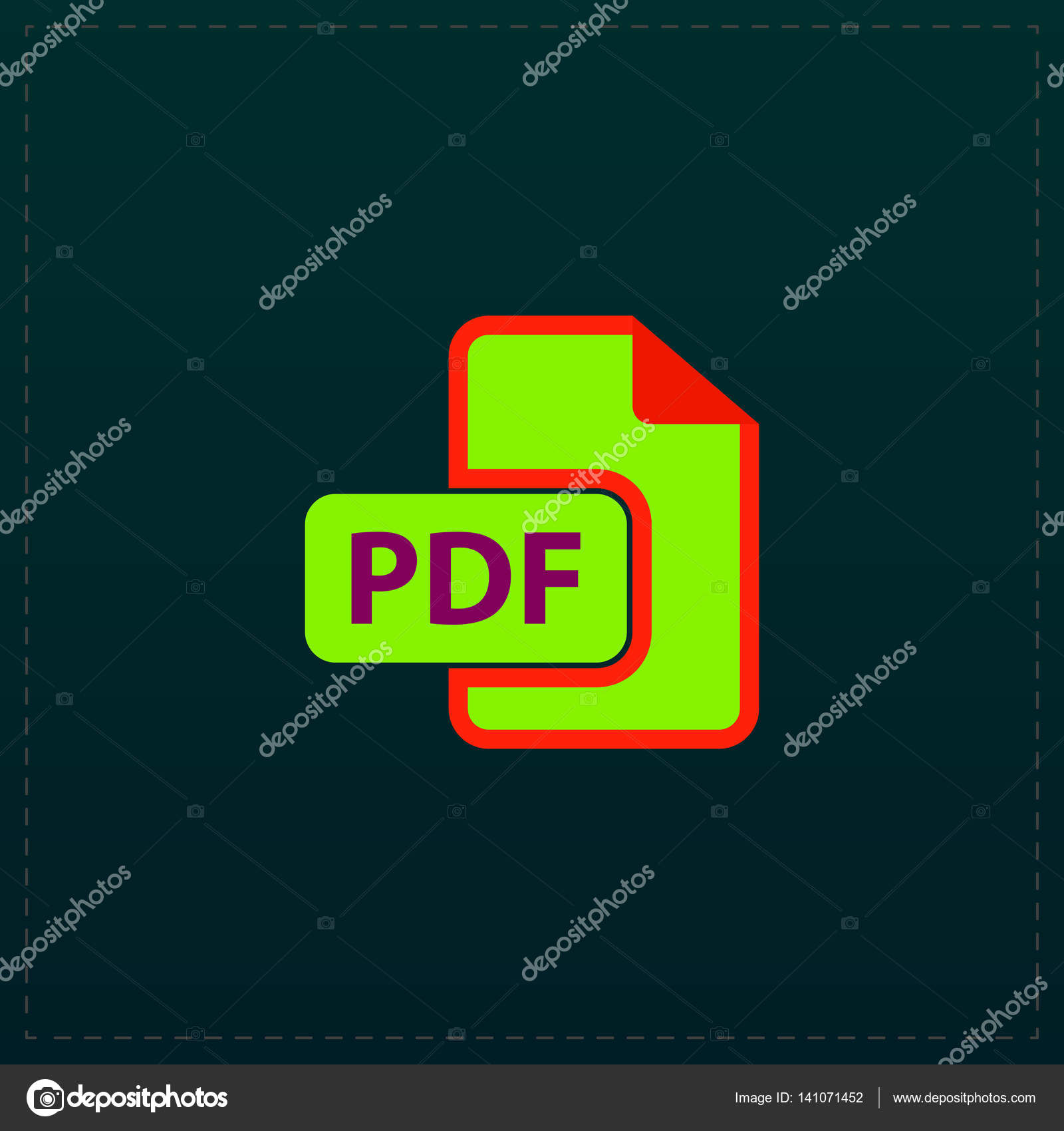 pdf flat icon — Stock Vector © burntime555 #141071452