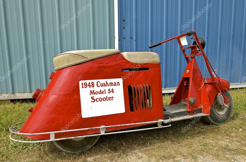 2016: A vintage Cushman 1948 Model restored motor scooter is displayed at the annual WCSTR farm show in Rollag held each Labor Day weekend — Photo by ...