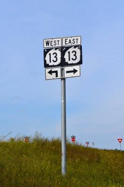 North Dakota  state highway sign with an Indian Chieftan