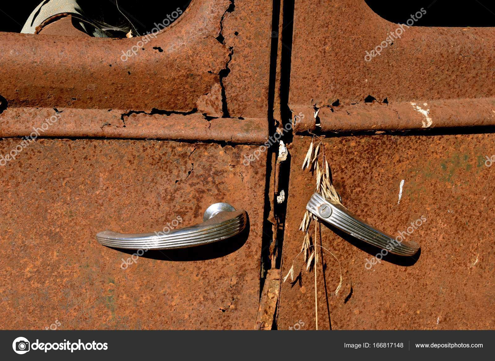 Suicide doors on an old rusty car frame — Stock Photo © fiskness ...